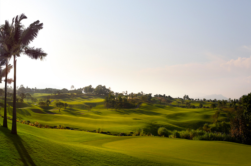 The Lake Course at Sky Lake near Hanoi presents golfers with natural contours and plenty of water. Image: Sky Lake Resort