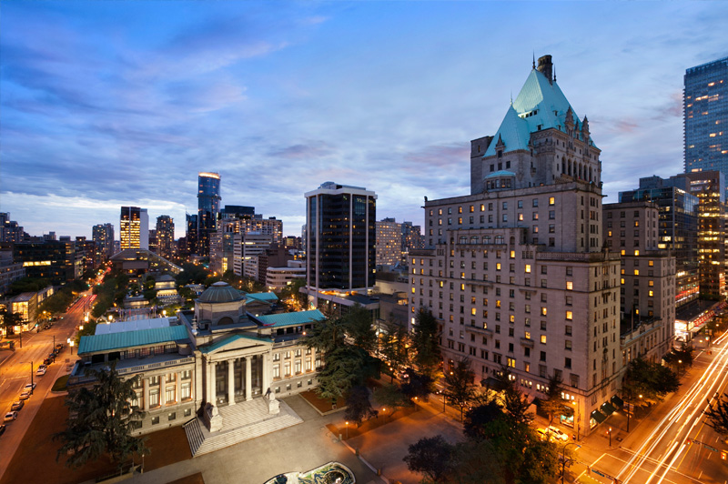 Aerial view of the Fairmont Hotel Vancouver. Image: FRHI
