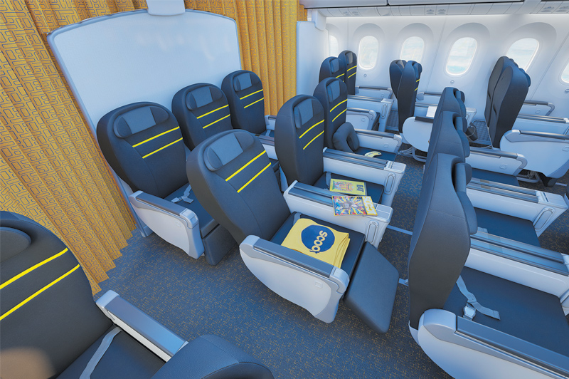 Enjoy ample legroom in the business cabin of Scoot