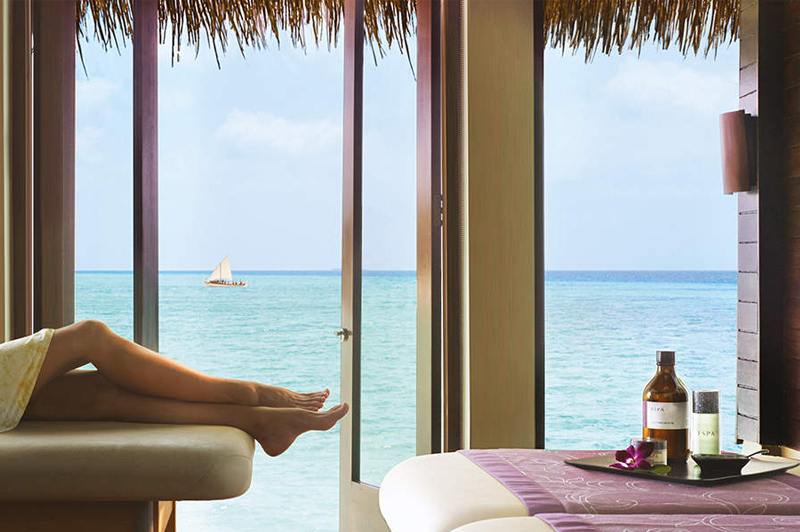 View from the Over Water Treatment Room at One&Only Spa. Image courtesy of One&Only Reethi Rah Maldives.