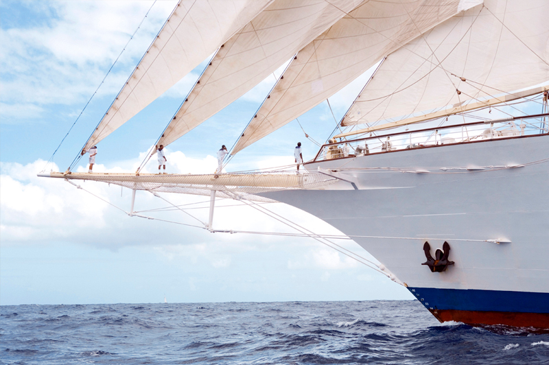 Star Flyer crew taming the jibs. Image courtesy of Star Clippers.