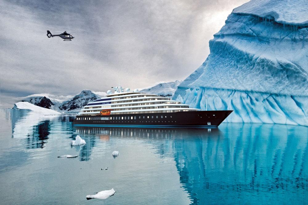 Scenic Eclipse ship sails in Antarctica