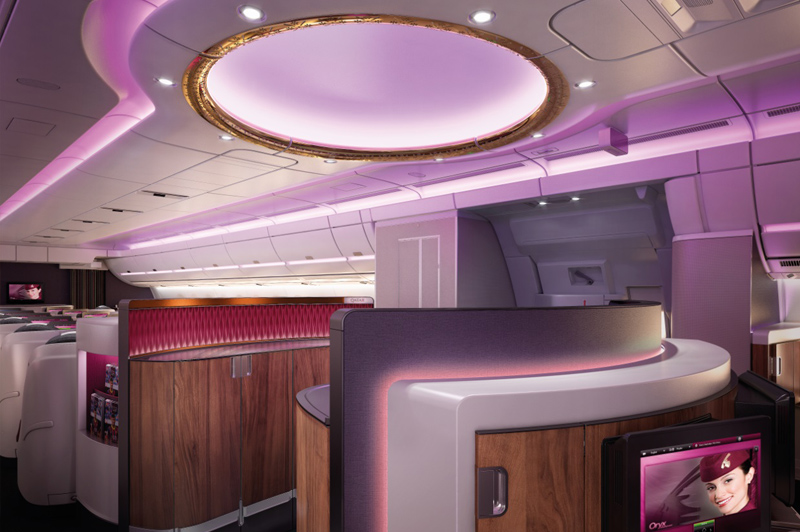Air is purified every two minutes inside the Business Class cabin. Image: Qatar Airways