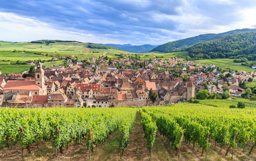 Panorama View of Riquewihr village in Alsace, France