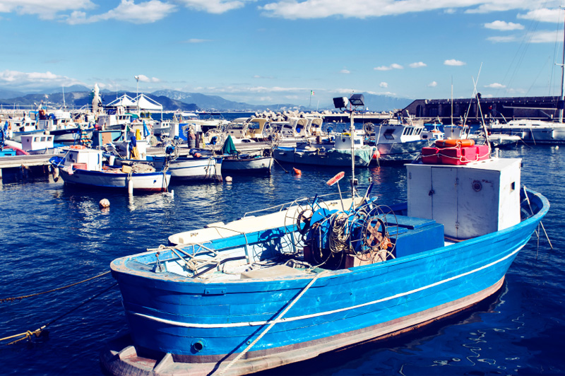 Fishing port in Cetara on the Amalfi Coast. Image: Getty