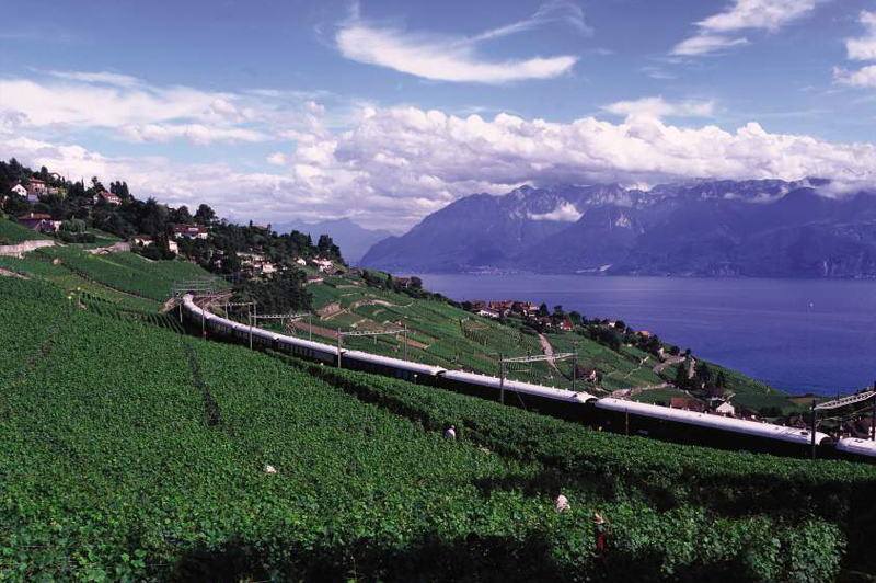 The Venice Simplon-Orient-Express near Lake Leman Switzerland
