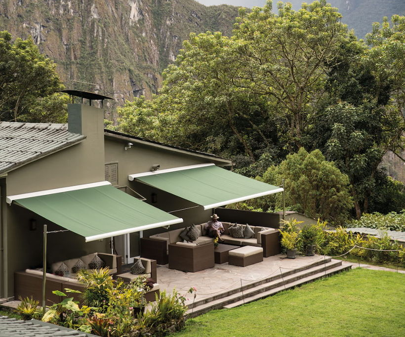 Belmond sanctuary lodge deck in mountains