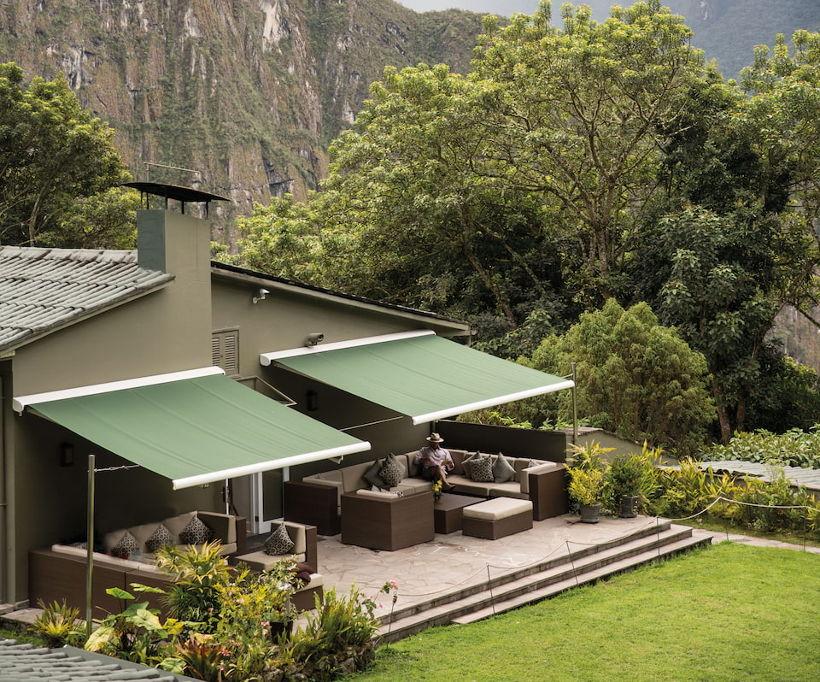 Belmond sanctuary lodge deck in mountains