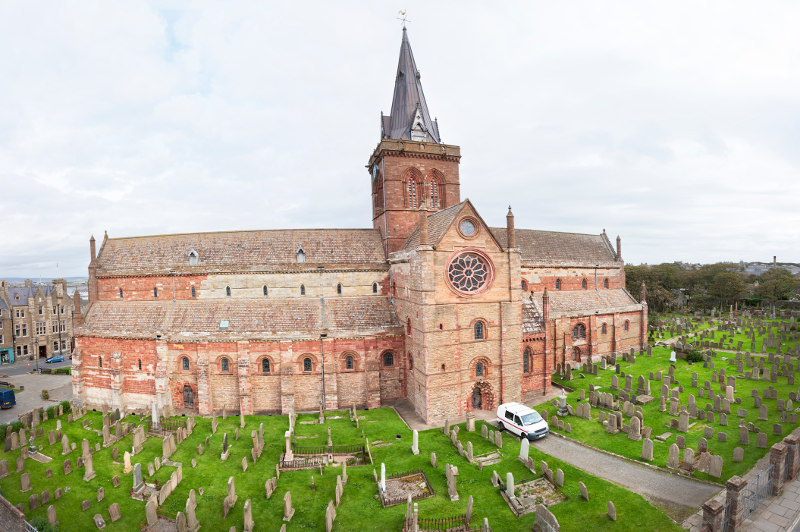 The 12th-century St Magnus Cathedral in Kirkwall, Orkney, Scotland