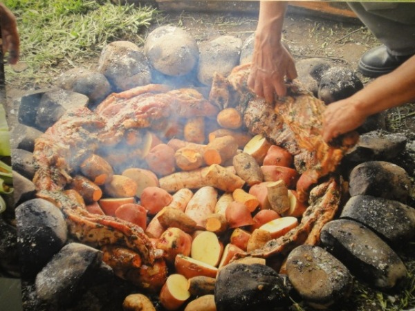 Pachamanca, baked in an earthen oven.