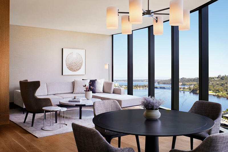 Living area in the Elizabeth Quay Suite, The Ritz-Carlton, Perth