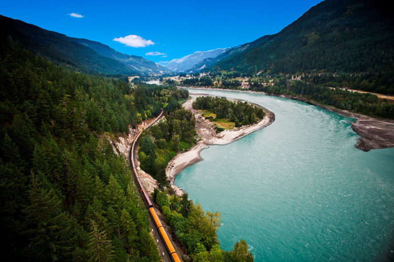 An elevated shot of the rocky mountaineer train