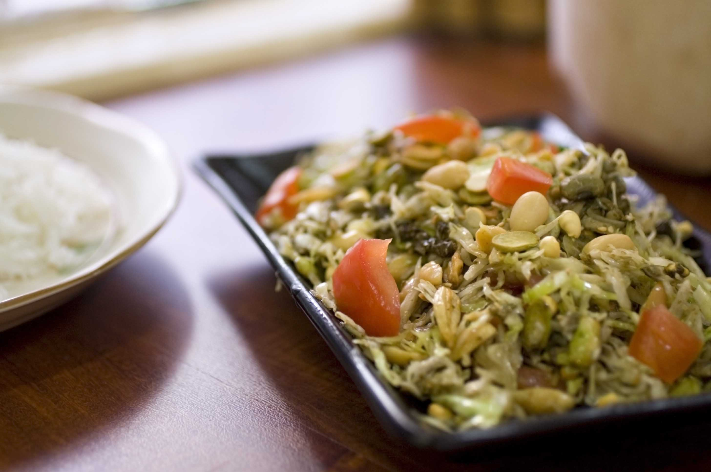 The Burmese fermented tea leaf salad is a local speciality.