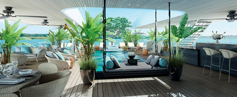 Pool onboard the Scenic Spirit