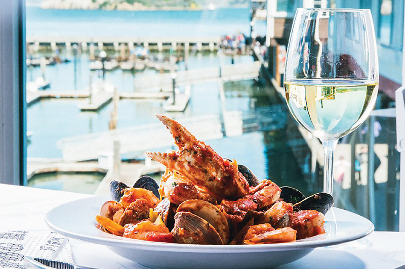 seafood dish overlooking pier