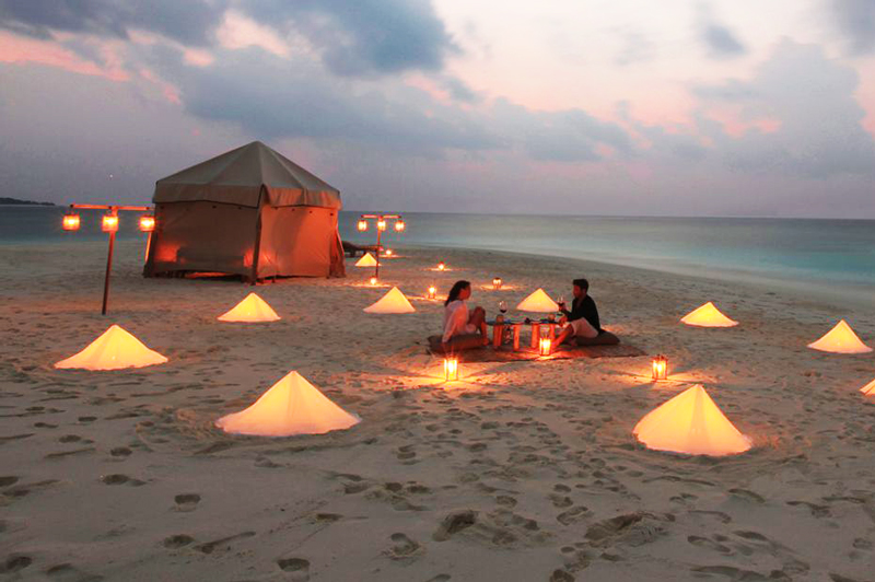Romantic overnight camping