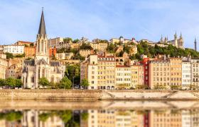 Lyon on banks of Saone