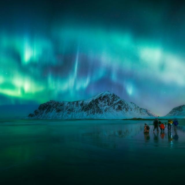 Aurora Borealis shining over Skagsanden Beach